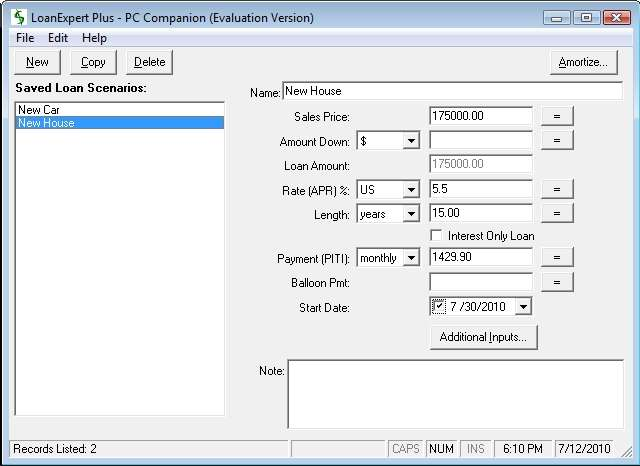 Click to view LoanExpert Plus 5.0.1 screenshot